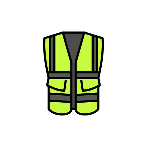 gilet de sécurité avec icône de contour de remplissage de poche vecteur
