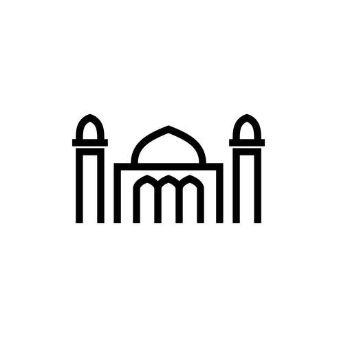 icône de contour de la mosquée. Kareem Ramadan vecteur