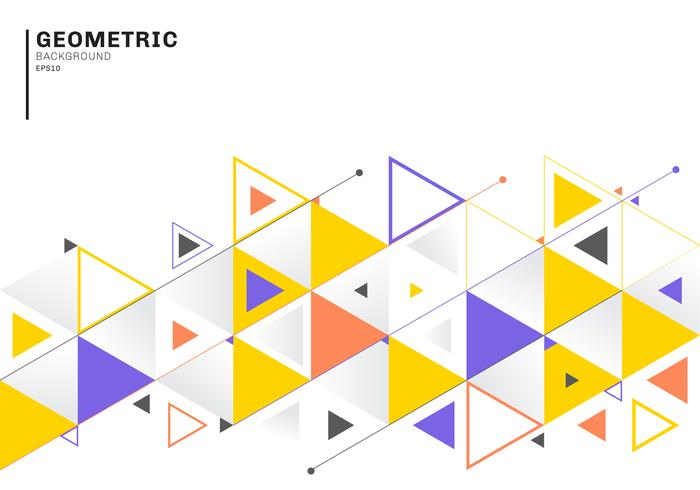 Modèle abstrait avec des triangles colorés et des flèches pour affaires et communication dans un style plat. Motif géométrique minimaliste. vecteur