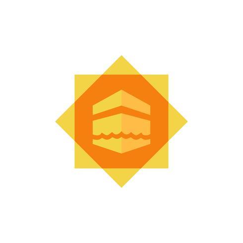 conception de l'icône plate kaaba vecteur