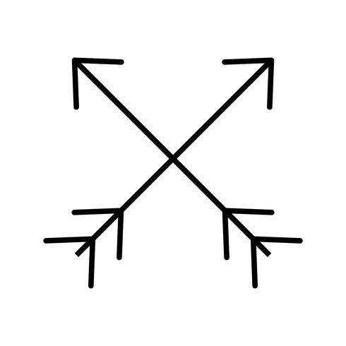 Icône de deux flèches ligne noire vecteur