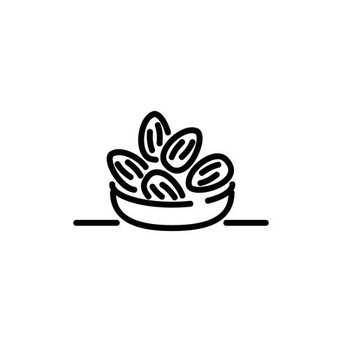 icône de contour de dates arabe. Kareem Ramadan vecteur