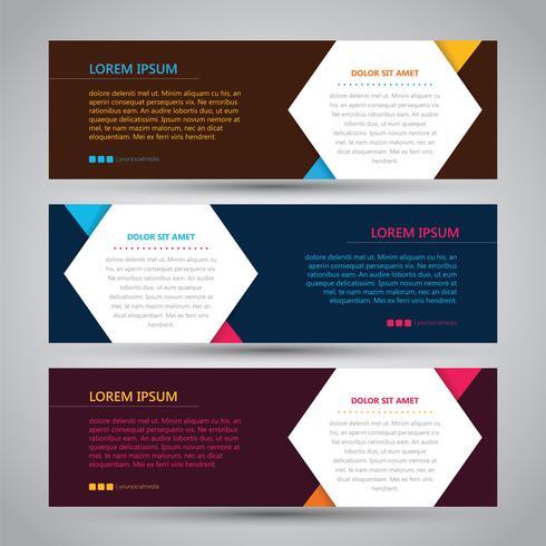 Bannière abstraite simple en trois couleurs vecteur