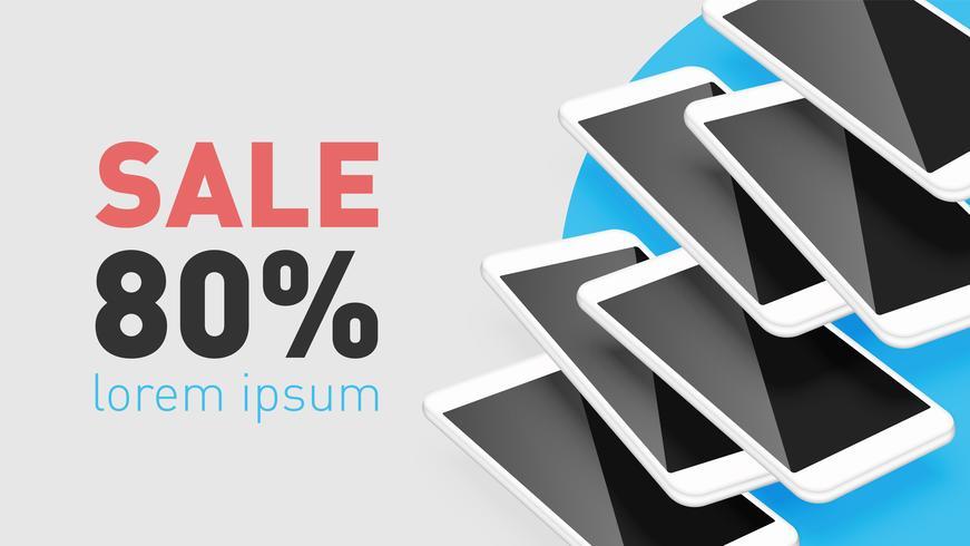 Smartphone réaliste avec texte promo, illustration vectorielle vecteur