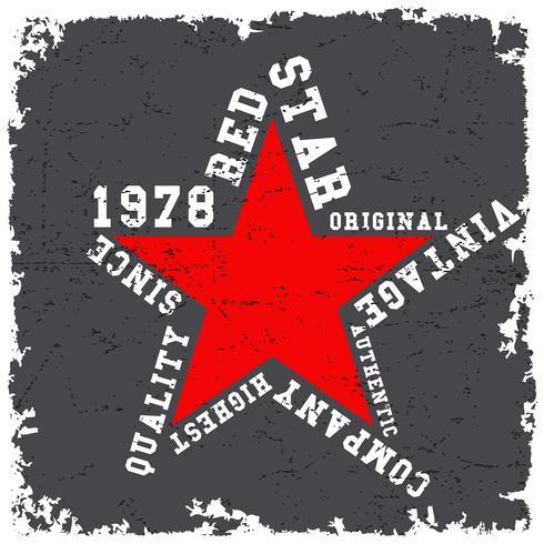 Design imprimé t-shirt. Affiche vintage étoile rouge vecteur