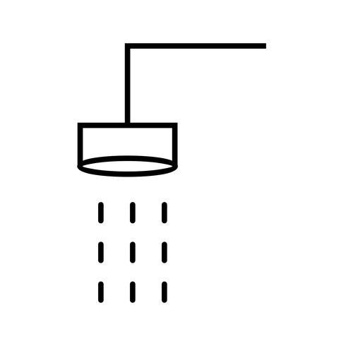 Icône de belle ligne de douche noir vecteur