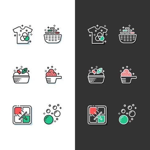 jeu d'icônes de blanchisserie moderne vecteur