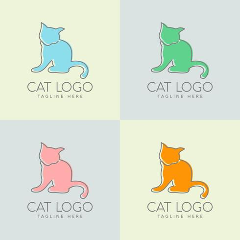 création de logo de chat simple vecteur