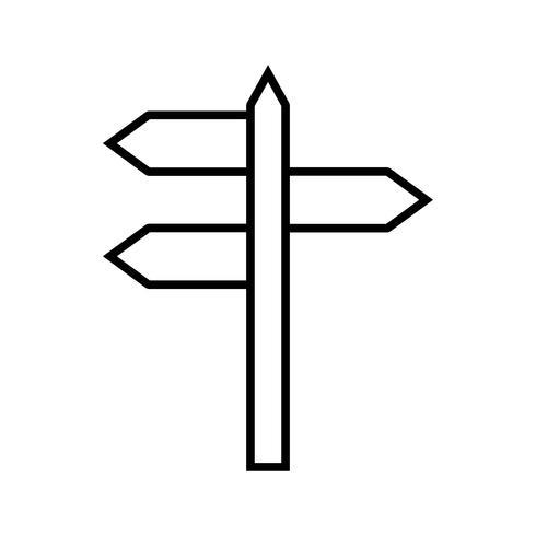 Icône de signe de rue ligne noire vecteur
