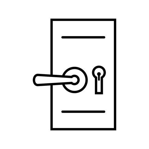 Icône de ligne noire de verrouillage de sécurité de porte vecteur
