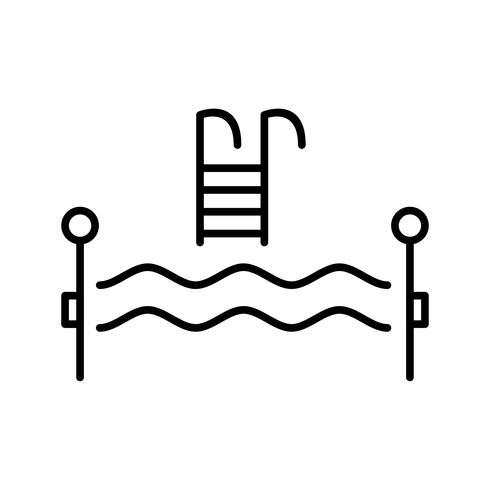 icône ligne noire piscine vecteur