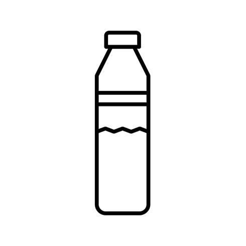 Icône de ligne noire belle bouteille d'eau vecteur