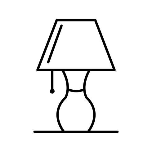 Icône de lampe de table Line black vecteur