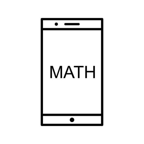 Étudier les mathématiques sur mobile Icône de belle ligne noire vecteur