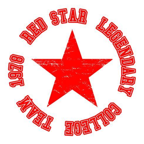 Timbre vintage étoile rouge vecteur