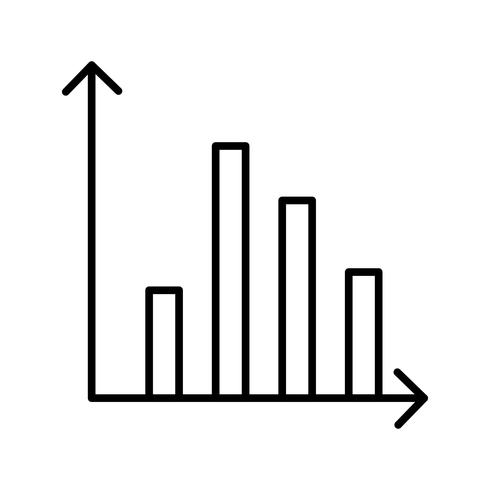 Statistiques belle ligne icône noire vecteur