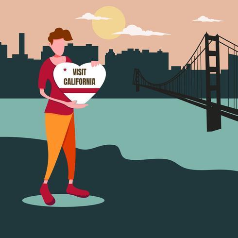Un homme tenant un signe d'amour californien. Voyage en Californie vecteur