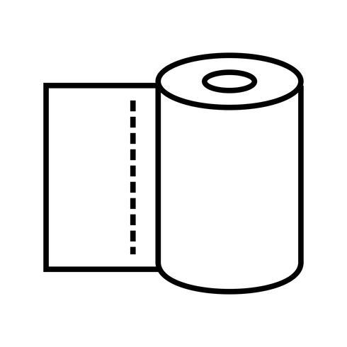 Icône de rouleau de tissu Ligne noire vecteur