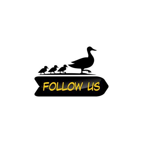 Suivez-nous modèle de conception de canard. Couleurs jaunes et noires. fond blanc vecteur