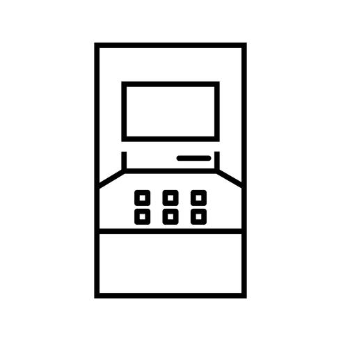 Icône noire de la belle machine ATM vecteur
