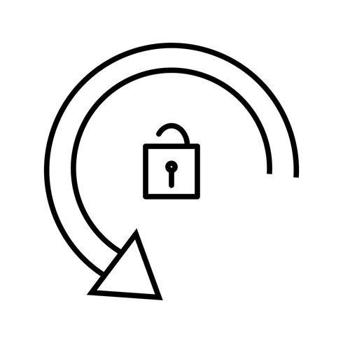 Rotation déverrouillée Line icon noir vecteur