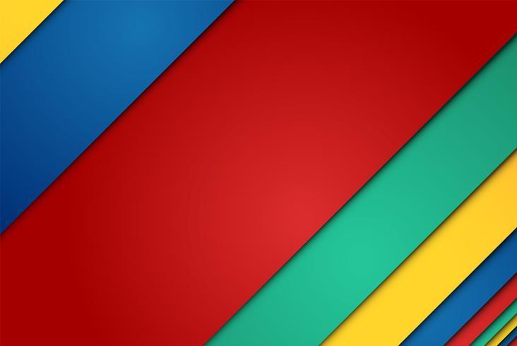 Feuilles de papier réalistes rouges, vertes, bleues et jaunes vecteur