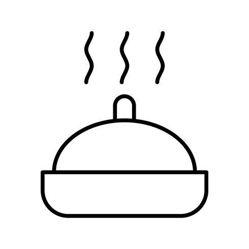 Icône de la belle nourriture chaude ligne noire vecteur