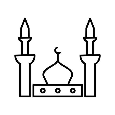 Prophet mosque Beautiful Line Black Icône vecteur