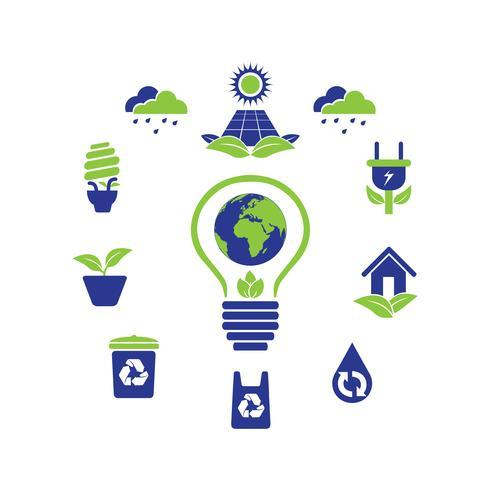 Collection de designs d'icônes Logo Eco Green vecteur