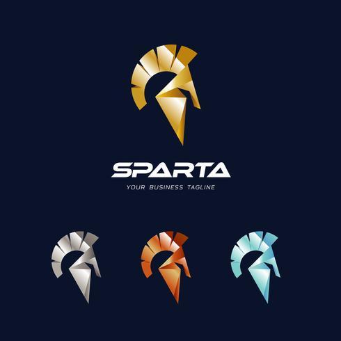Modèle de conception de logo de casque Sparta vecteur