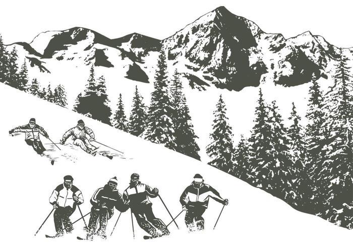 Pack de vecteur ski neige