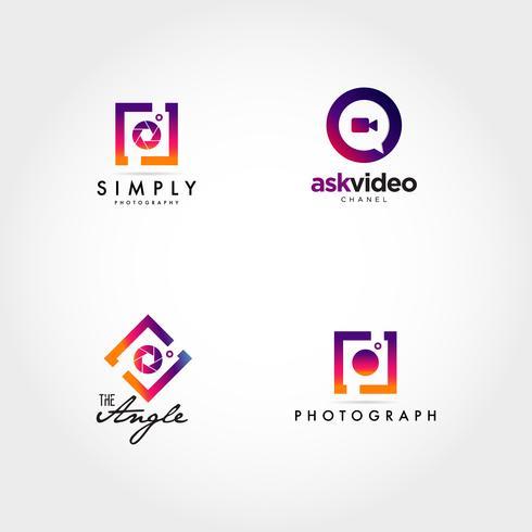 Photographie Vidéographie Logo Icon Design Set vecteur