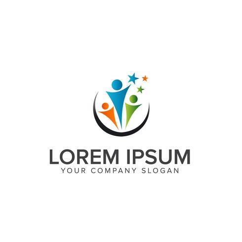 logo de gens de travail d'équipe partenariat. concept de design de logo de l'éducation vecteur