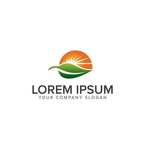 Modèle de concept Nature Green Landscape Sunrise logo design vecteur