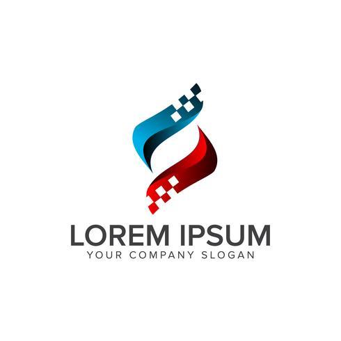 lettre S logo. Concept de conception de logo informatique Internet Technology vecteur