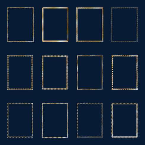 Ensemble de luxe doré cadres et frontières ensemble. Définir des cadres dorés modèle élégant lines.for restaurant, royauté, boutique, hôtel, héraldique, bijoux, mode et autre illustration vectorielle vecteur