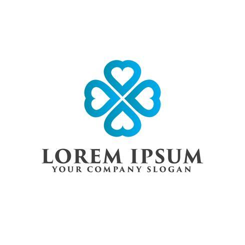 modèle de concept de conception amour logo travail d'équipe vecteur