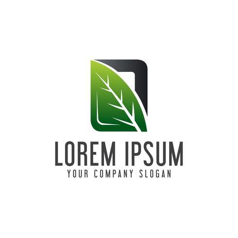 Logo de feuille naturelle. Concept de conception de logo de jardin paysager templa vecteur