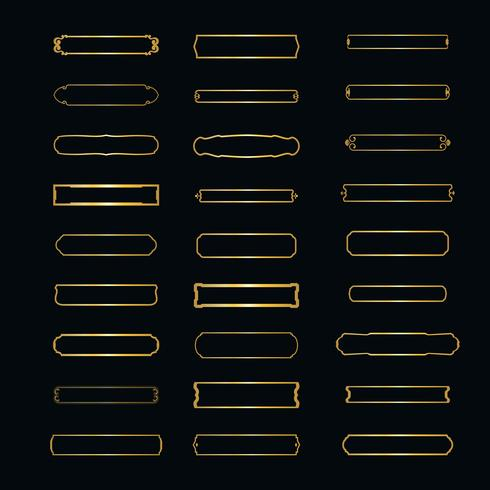 Jeu de cadres élégants vectorielles. cadre horizontal minimaliste pour le logo et les textes. Insignes linéaires isolés sur fond blanc. vecteur