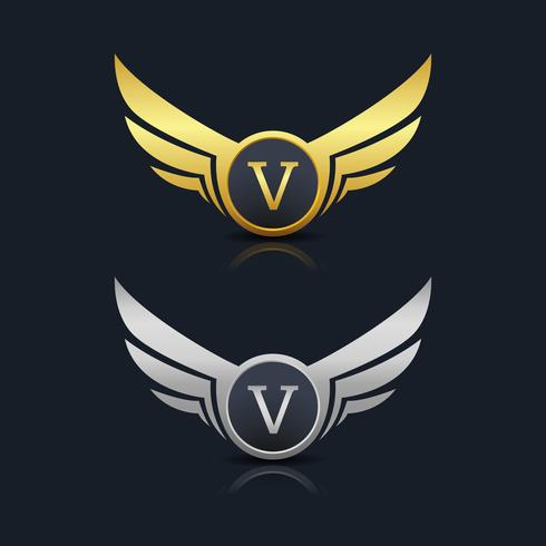 Logo de l'emblème de la lettre V vecteur