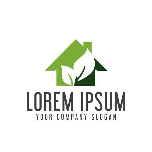 logo de la maison verte. modèle de concept immobilier logo design vecteur