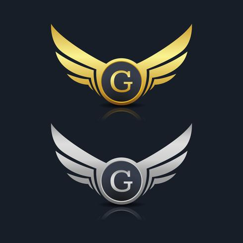 Modèle de logo G de lettre de bouclier d'ailes vecteur