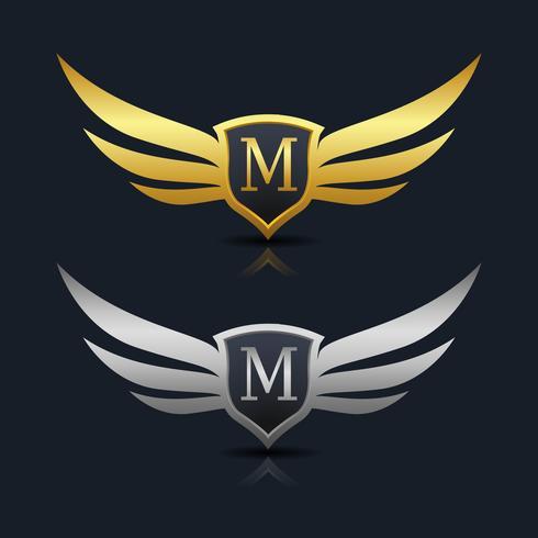 Modèle de logo lettre W bouclier lettre M vecteur