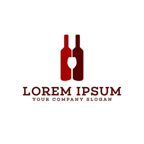 bouteille de vin et verre logo bar discothèque logo design concept tem vecteur