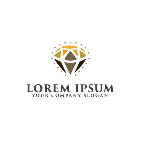 Logo de diamant de beauté. Modèle de concept de conception de bijoux cadeau vecteur