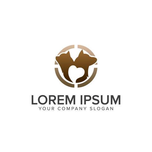 Logo de chien. modèle de concept de design logo de soins pour animaux de compagnie vecteur