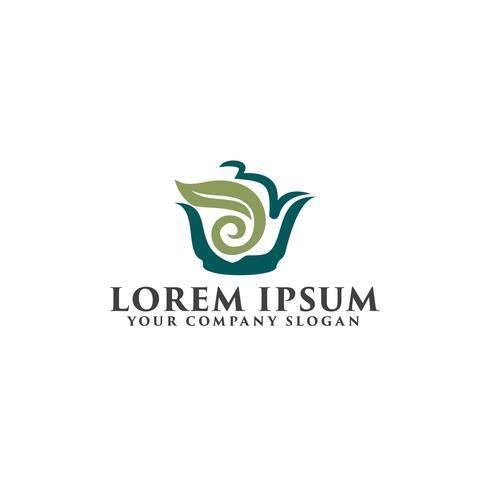 modèle de concept de design logo thé vert vecteur
