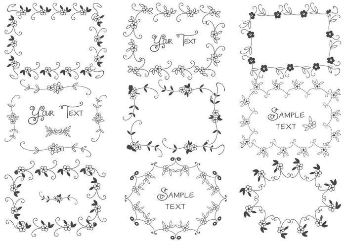 Ensemble de vecteurs de cadre floral dessiné à la main vecteur