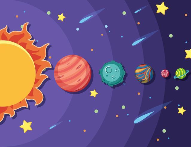 Ensemble de système solaire vecteur