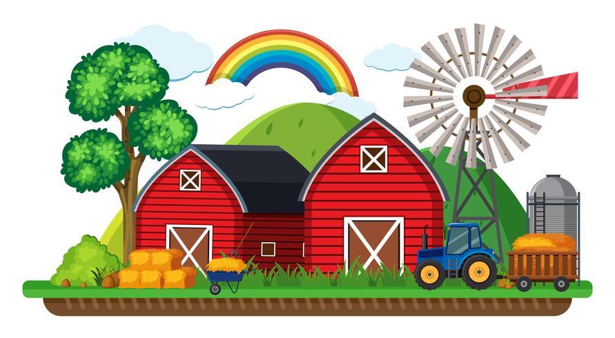 Scène de ferme avec tracteur et foin vecteur
